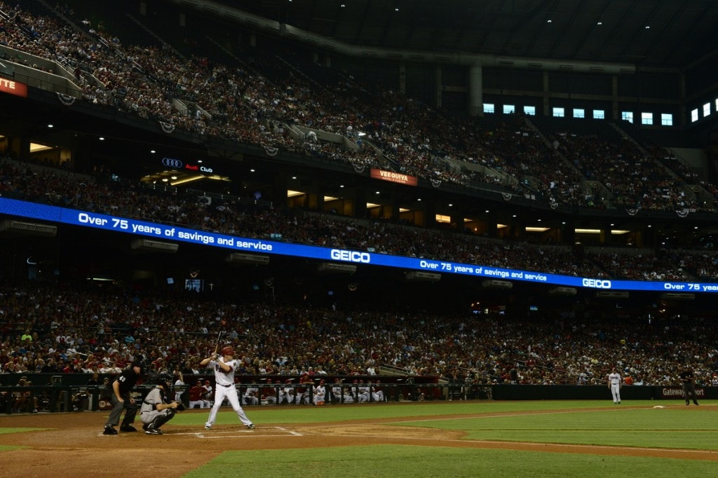 PHOENIX, AZ - July 4: GEICO main LED. (Photo by Jennifer Stewart/Arizona Diamondbacks)