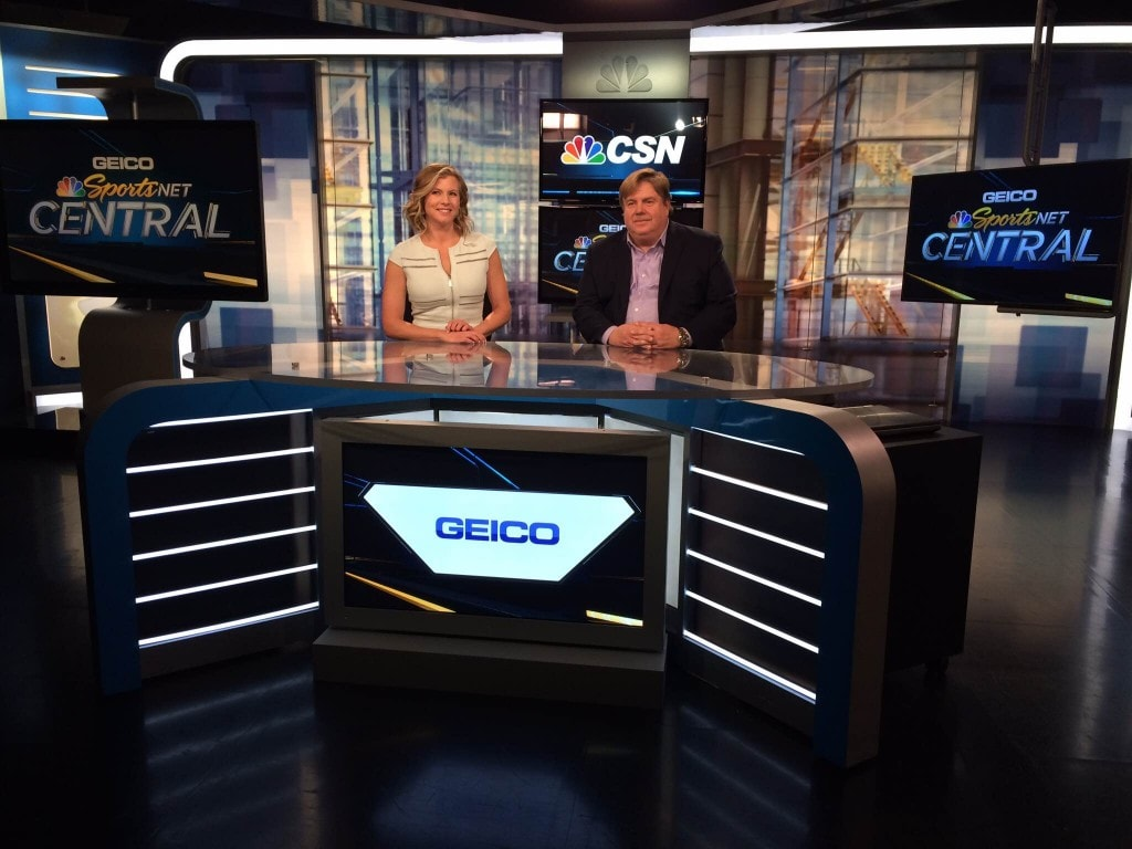 Drew Mills founder of Mills Marketing & Communications on the GEICO Sportsnet Comcast set with Julie Donaldson