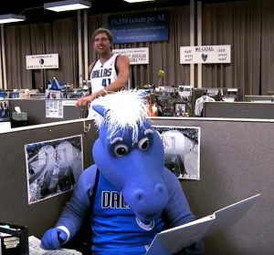 Sports Celebrity Endorsements Dirk Nowitzki and the Dallas Mavericks mascot in the Hump Day TV commercial